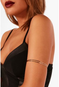 Gold metallic Textured Double Layer Arm Cuff