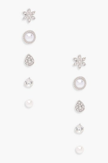 Silver Eva Pearl And Diamante Studs 5 Pack
