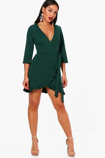 Evergreen green Formal Tie Wrap Frill Detail Skater Dress
