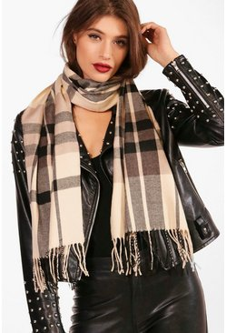 Cream white Check Woven Scarf