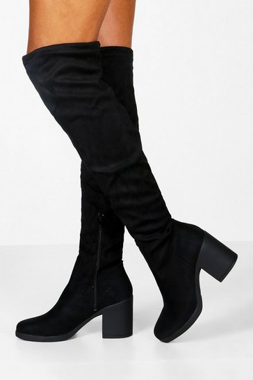 Black Chunky Over The Knee High Boots