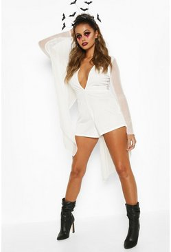White Halloween Mesh Cape Plunge Playsuit