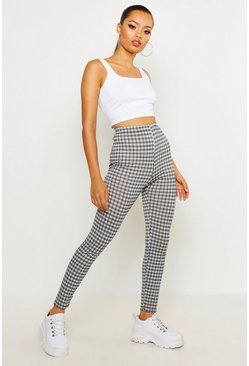 Black Mono Check Basic Jersey Leggings