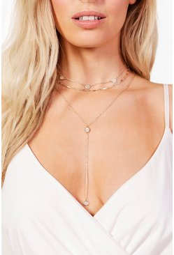Gold metallic Diamante Chain Choker & Plunge Necklace