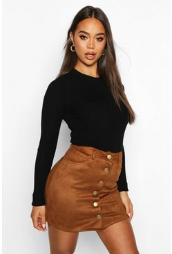Tan brown Bonded Suede Button Through Mini Skirt