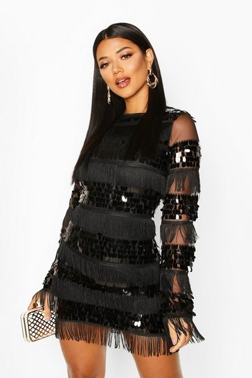 Black Sequin and Tassel Long Sleeve Bodycon Dress