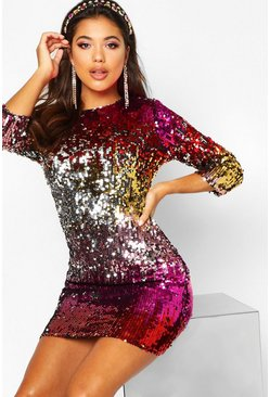 Red Boutique  Multi Sequin Bodycon Dress