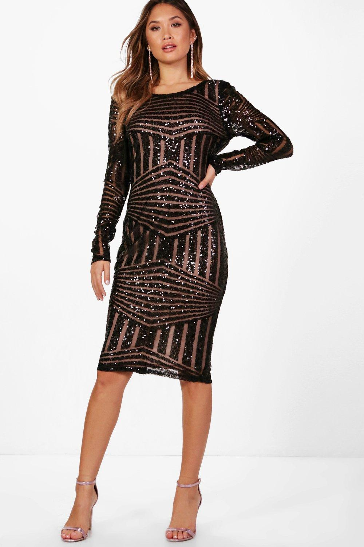 DRESSES Boutique Sequin and Mesh Midi Dress