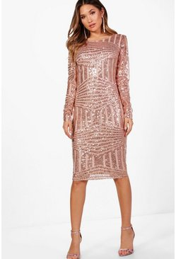 Rose pink Boutique Sequin and Mesh Midi Dress