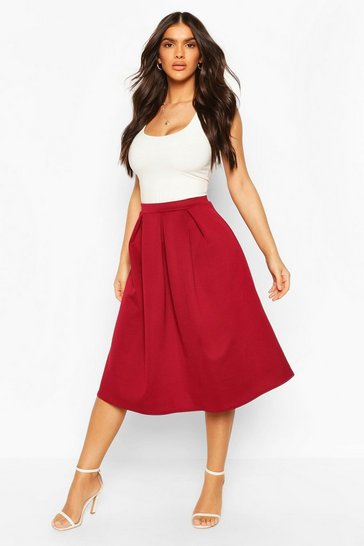Berry red Basic Box Pleat Midi Skirt