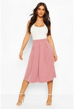 Rose dust pink Basic Box Pleat Midi Skirt