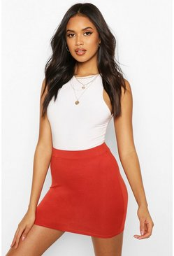 Rust orange Basic Jersey Mini Skirt