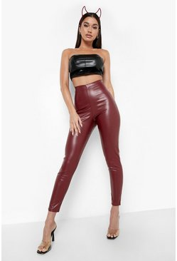 Plum High Waist Stretch Vinyl Leggings