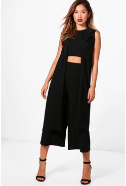 Black 3 Piece Crop Culotte & Duster Co-Ord Set