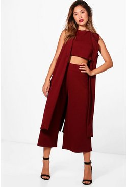 Mulberry red 3 Piece Crop Culotte & Duster Two-Piece Set