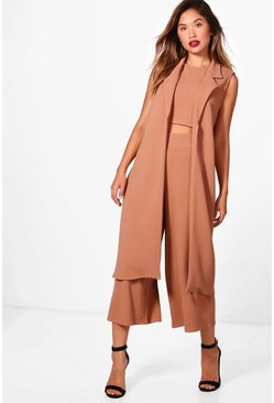 Tan brown 3 Piece Crop Culotte & Duster Co-Ord Set