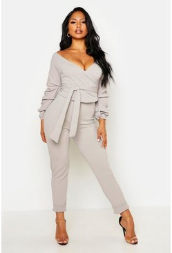 Grey Wrap Rouche Top & Pants Two-Piece Set