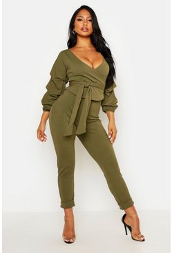 Khaki Wrap Rouche Top And Trouser Co-Ord Set