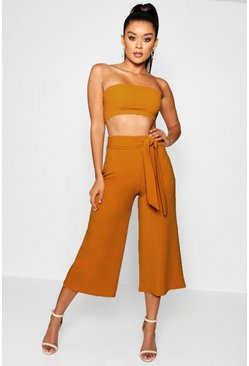 Mustard yellow Tie Waist Culotte Co-Ord Set