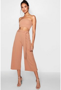 Tan Tie Waist Culotte Co-Ord Set