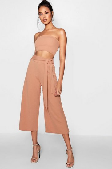 Tan brown Tie Waist Culotte Co-Ord Set