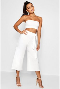 White Tie Waist Culotte Co-Ord Set