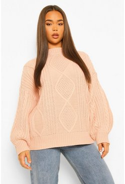 Natural beige Oversized Cable Sweater