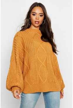 Ochre yellow Oversized Cable Jumper