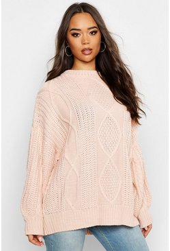 Stone beige Oversized Cable Jumper