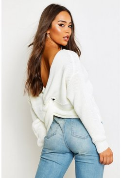 Cream Crop Twist Jumper