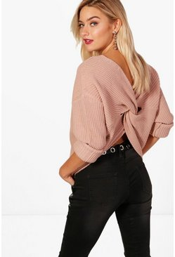 Nude Crop Twist Sweater
