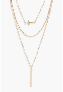 Gold metallic Layered Cross And Bar Necklace