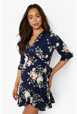 Navy Floral Frill Hem Wrap Dress