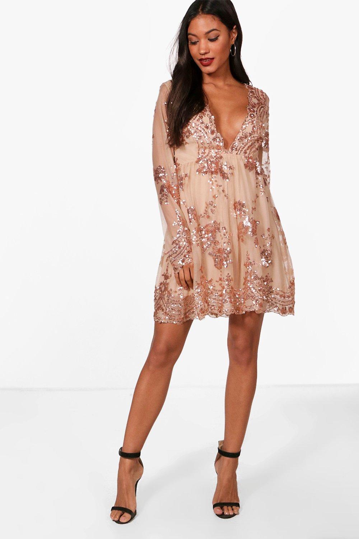 Long Sleeve Dresses Ellie Sequin and Mesh Long Sleeve Skater Dress
