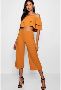 Amber orange Double Bandeau Top and Culotte Co-ord Set