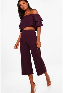 Black plum purple Double Bandeau Top and Culotte Co-ord Set
