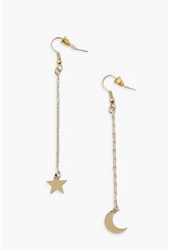Gold metallic Moon And Star Drop Earrings