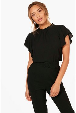 Black Woven Frill Sleeve And Neck Blouse