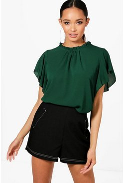 Fles green Geweven Blouse Met Ruches
