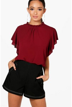 Burgundy Woven Frill Sleeve And Neck Blouse