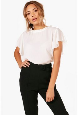 Ivory Woven Frill Sleeve And Neck Blouse