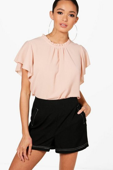 Nude Woven Frill Sleeve And Neck Blouse