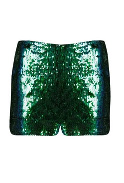 Emerald All Over Sequin High Waisted Hotpants