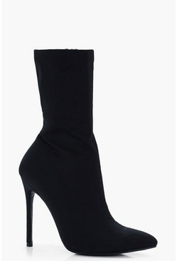 Stretch Over Ankle Sock Boots, Black nero