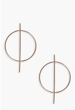 Gold metallic Circle And Bar Hoop Earrings
