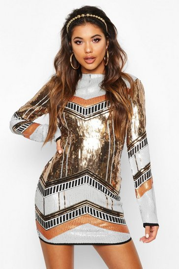 Gold metallic Boutique  Sequin Bodycon Dress