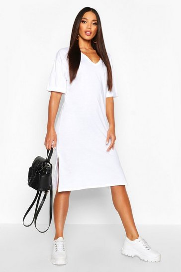 White Oversized Midi T-Shirt Dress