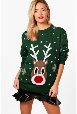 Bottle green Snowflake Reindeer Christmas Jumper