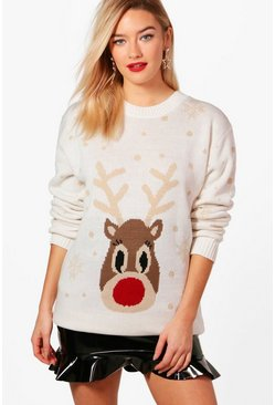 Cream white Snowflake Reindeer Christmas Jumper