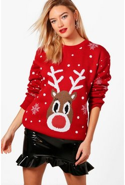 Red Snowflake Reindeer Christmas Jumper